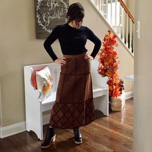 Vintage REAL SUEDE LEATHER patchwork maxi skirt